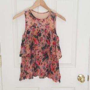 Tracy Reese floral top with mesh inset in the back